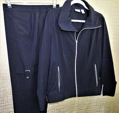2Pc Chicos Zenergy Neema Jacket & Pants 2=12 L Navy Midnight Blue Silver Hdwe