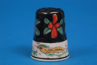 Black Floral Pattern (No Makers Name) China Thimble B/60