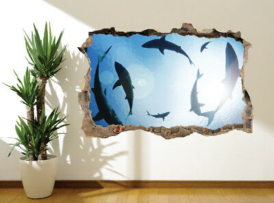 Under the waves with great white sharks photo Wallpaper wall mural 31048627