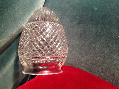 Antique Edwardian Art Deco Cut Glass Crystal Oval Acorn Shade For Lamp / Ceiling