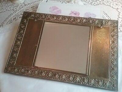 Vintage Brass Hall Mirror/brush Holder, Early To Middle 20Th Century.