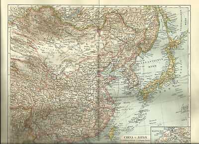 1903 China und Japan - Original alte Landkarte Karte Antique Map