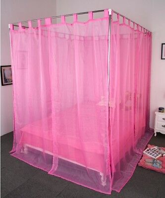 King Pink Yarn Mosquito Net Bedding Four-Post Bed Canopy Curtain Netting#