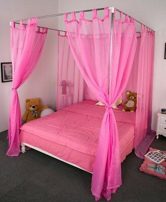 Single Pink Yarn Mosquito Net Bedding Four-Post Bed Canopy Curtain Netting#