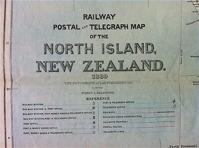 100% Original LARGE Map of North Island New Zealand 1889, Railways & Postal