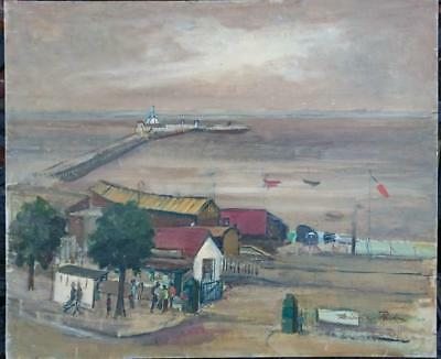 Interesting 1950/60S Oil - Beach Scene With Pier In The Distance. Signed ???
