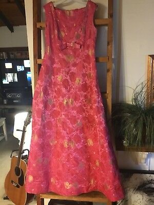 Vintage Sleeveless Dress With Cape Kimono Oriental Floral Metallic Gown Read Des