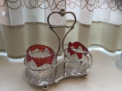 Lovely Antique  Silver Plated And Cranberry Glass  Milk And Sugar Set