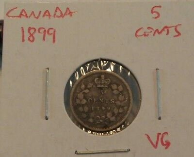 1899 Canada 5 Cent Silver VG Lot #2