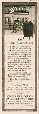 1917 vintage AD Sonora Phonograph The Assistant Music Master