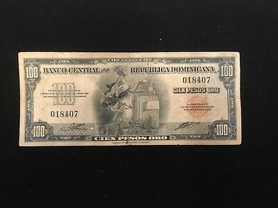 DOMINICAN Republic 100 Pesos Gold Note 1947 >> No Ink stains