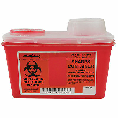Medical Supplies Sharps Container, Chimney-Top Red