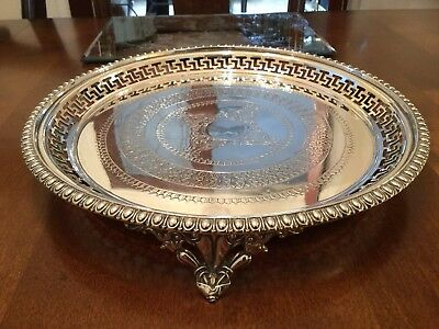 Superb Antique Victorian Silver Plated Chased Footed Drinks Tray