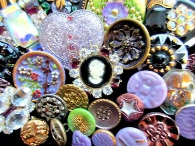 BUTTONS  Mix of GORGEOUS VINTAGE & NEW Glass & Metal & Rhinestone Purple & Green
