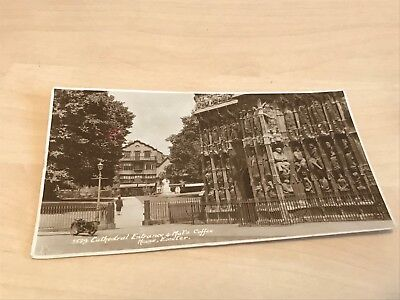 1920s Sweetman Real Photo Postcard Cathedral Entrance & Mols Coffee House Exeter
