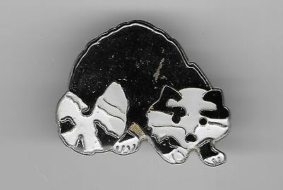 Vintage Raccoon Large old enamel pin