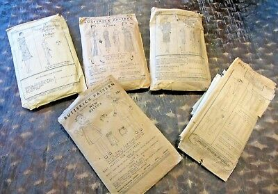 LOT of 5 Vintage 1920's Dress Patterns Butterick & Pictorial Review