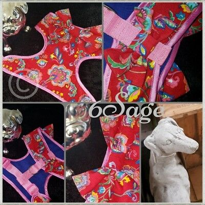 Hand made Couture Dog Harness in plush velvet cord fabric unique