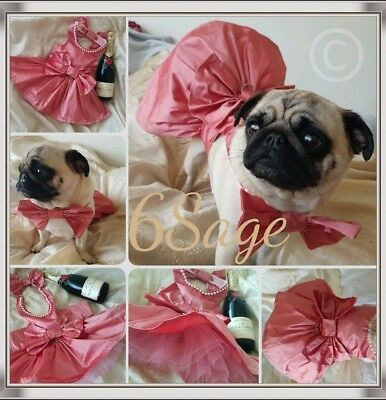 Hand made Couture Dog dress in raw silk. tutu and full skirt.plus Bow