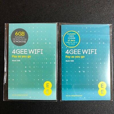 EE PAYG 6GB Preloaded Data SIM Card Receive 500MB per month for 12 months = 6GB