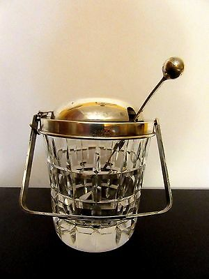 Vintage Cartier Sterling Silver And Crystal Jam/jelly Condiment ,Cup