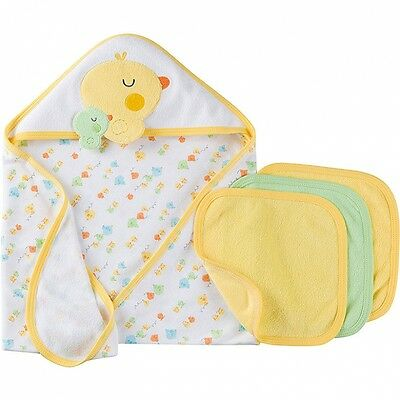 Gerber Baby Unisex 4 Piece Terry Bath Set NEW Neutral Hooded Towels Washcloths