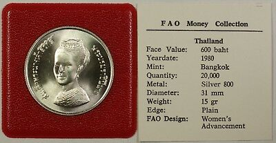 1980 FAO Money Collection Thailand 600 Baht Silver Coin Women's Advancement