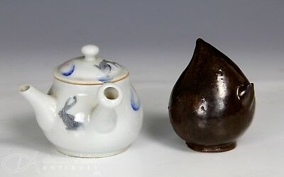 Old Korean Peach Form Water Dropper With Japanese Porcelain Tea Pot W Fish