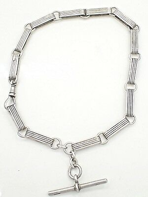 Antique 1899 Sterling Silver Fob Chain With T-Bar By William Walter Cashmore