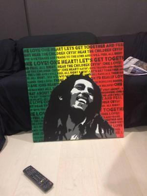 Bob Marley One Love Stencil Art on Canvas