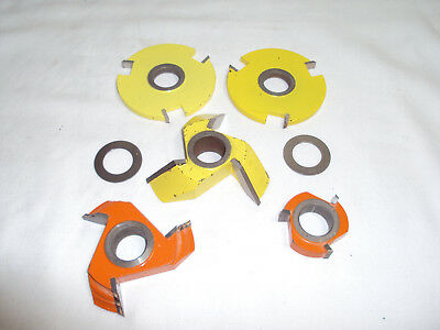 "lot of 5 Router Shaper Cutter Wood Working Bits 3/4"" Bore Yellow Orange Carbide"