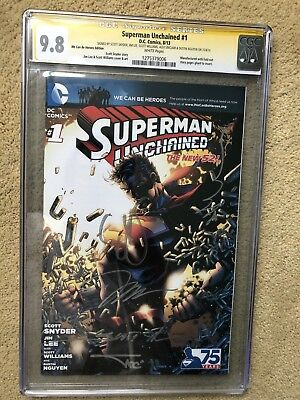 Superman Unchained #1 Cgc 9.8 Ss Wcbh Variant 5X Jim Lee  Synder Williams