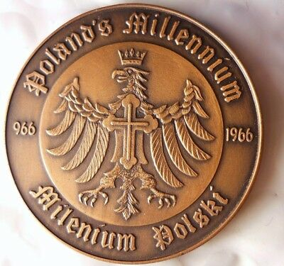 1966 POLAND - 1000 Years of Christianity - Great Large Medal - Lot #F22