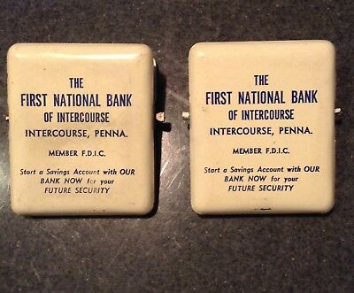 2 Vintage Advertising Metal Clips First National Bank Intercourse, Pennsylvania