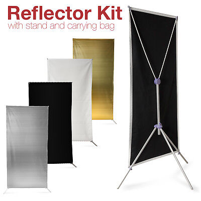 Photo Studio Black White Gold Silver Panel Reflector Kit w/ Stand & Carrying Bag