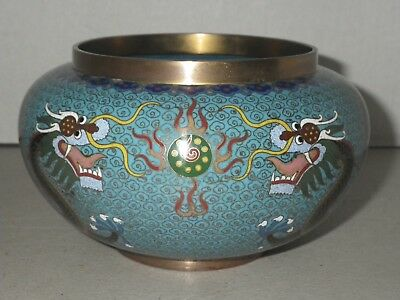 Vintage Chinese Enamel over Brass Cloisonne Bowl Vase Blue with Dragons