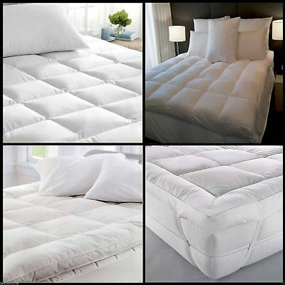 Duck Feather & Down Mattress Topper Luxury Extra Thick Box Stitched All Sizes