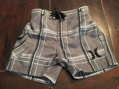 Hurley Boardshorts Size 18 Months Plaid Gray Excellent Condition
