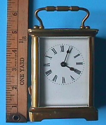 Vintage Carriage Clock With Key. Runs Fine. Made in France. No Maker Name. NR