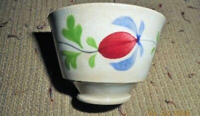 RARE 1800s SOFT PASTE STAFFORDSHIRE GAUDY MINIATURE CHILDS HANDLELESS CUP