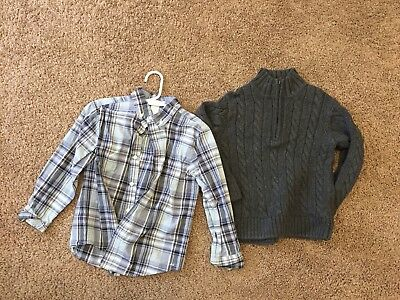 Boys Janie And Jack Size 5 Button Up And Sweater