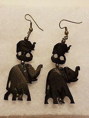Artisan Afican Wild Animal Elephant Jewelry Drop Dangle Earrings