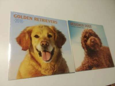 2 Lot- Designer Dogs And Golden Retrievers 2016 Calendar ( Brand New Still Seale