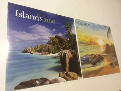 2 Lot- Tropical Hideaways & Islands 2016 Calendar  ( Brand New Still Sealed ) **