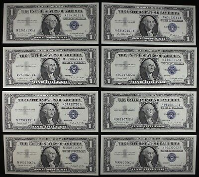 Eight $1 1957A UNC silver certificates, M-A N-A block, series A, FREE SHIPPING