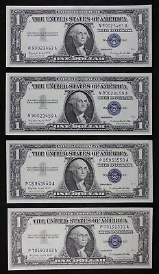 Four $1 1957A UNC silver certificates NA PA block one dollar series A, FREE SHIP