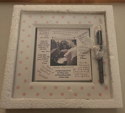 """""""Framed Wishes"""" Baby Photo Frame 9x9 with pen For Friends and Family to Sign NEW"""