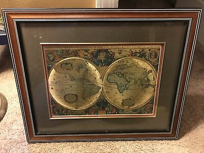 Foil art old world map matted and framed nova totivs terrarvm nova totivs terrarvm double hemisphere old world map print foil framed 18x22 gumiabroncs Choice Image