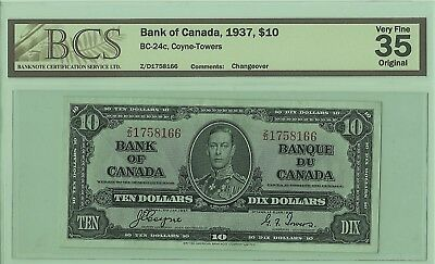 1937 Canadian $10 Banknote BC-24c Coyne/Towers BCS VF35