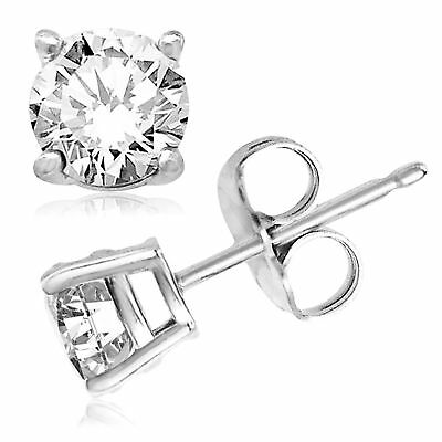 6d1026225f 925 Sterling Silver CZ Round Stud Earrings 6mm Made with Swarovski Zirconia  AS